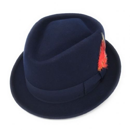 Navy Pork Pie/Trilby Hat - Diamond Crown. Lined. Premium Wool